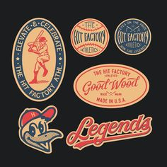 Some of the old school baseball graphics I've recently done for ⚾️⚾️⚾️ Really looking forward to see them printed on hats… Typography Logo, Logo Branding, Branding Design, Lettering, Badges, Baseball Posters, Baseball Font, Baseball Gloves, Baseball Shirts