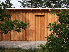 ALPACA HOUSE / Location: Zoo Veszprém / Veszprém H-8200 Hungary / Planning: 2013 / Completed: 2014 / Project area: 80 sqm (building) + 1500 sqm enclosure Hungary, Architecture Design, Garage Doors, Studio, Building, Outdoor Decor, Projects, House, Home Decor