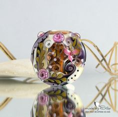 1 big handmade lentil bead focal -- SRA -- glass lampwork -- R o m a n t i c   P l a c e s  -- Silke Buechler