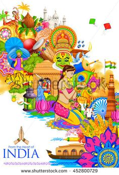 Illustration about Illustration of India background showing its culture and diversity with monument, dance and festival. Illustration of cricket, india, editable - 74382880