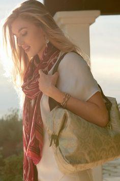 Metallic Ikat Tote Bag & Satchel | How Does She Do It Tote | Stella & Dot click to shop @ www.stelladot.com/loriakowalik