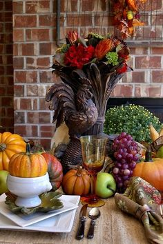 a harvest table, fireplaces mantels, outdoor living, porches, seasonal holiday decor, Pumpkins and ribbon