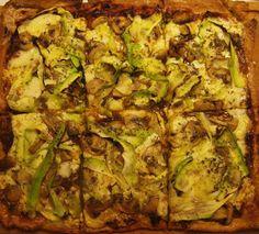 Pizza de champiñones y calabacín