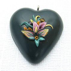 Dark Green Heart Pendant Applique Floral by jkollmann on Etsy, $10.00