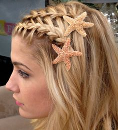 Starfish Hair Pins, Beach Hair Accessories, Natural - Set of 2 - Choose either  2 in. or 3 in. or a combination of both