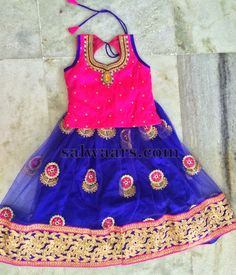 Flower Motifs Blue Net Lehenga | Indian Dresses