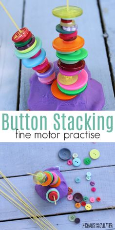 Button Stacking fine motor practise
