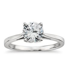 Graceful in design, this classic yet distinctive solitaire engagement ring features a cathedral shank and delicate petal prong detailing that will showcase your center diamond. Also available in as a special order. Engagement Sets, Engagement Ring Settings, Solitaire Engagement, Diamond Solitaire Rings, Diamond Bands, Monique Lhuillier, Kendall, Art Nouveau, Thing 1