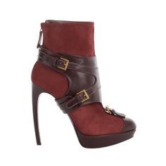 Alexander McQueen Oxblood Stirrup Buckle Boot ($1,220) ❤ liked on Polyvore featuring shoes, boots, heels, alexander mcqueen, mcqueen, polishing leather boots, leather buckle boots, leather platform boots, platform heel boots and high heel platform boots