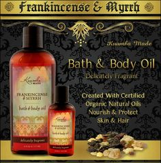 Frankincense & Myrhh Bath & Body Oil is created with certified organic oils that deeply penetrate and nourish skin or hair. Delicately fragrant with this timeless scent. Fit for a king.