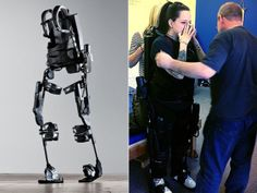 Four years after she was told she would never walk again, Amy Paradis takes her first steps with the help of a bionic exoskeleton | The Ekso Bionics bionic suit weighs about 20 kilos, is powered by lithium batteries, has small motors at the hips and knees, plus body sensors and a small computer.