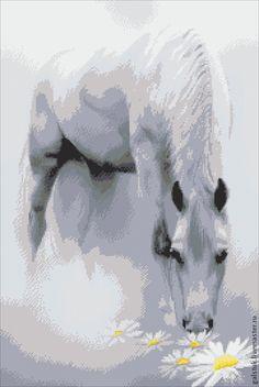 """Схема вышивки бисером """"Лошадь в тумане"""" с полной зашивкой - купить схему вышивки"""