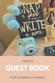 Grab your instant camera and get ready for some party fun.  Guests at your party can take a picture and tape it into your guest book.  While it dries, they can write about their favorite memory or provide advice.  Photo guest books are great graduation party ideas, wedding reception ideas, retirement party ideas, etc.  It's perfect to set up a photo guest book at a senior table at a graduation party.