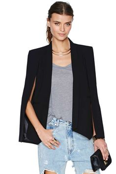 Champagne Taste Cape Blazer - Black | Shop Jackets + Coats at Nasty Gal