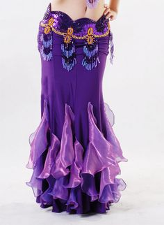 ladies flowing soft ST114  multi imitation crystal cotton belly dance long fishtail skirts $24.00 crystal