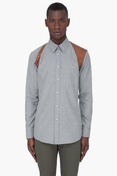 Alexander McQueen Grey Leather Harness Shirt for Men   SSENSE