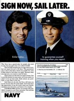 US Navy 'Sign Now, Sail Later.' ('Popular Science' magazine, May, 1976)