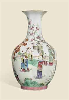 A RARE AND FINELY PAINTED FAMILLE ROSE 'FLOWER SPIRITS' BALUSTER VASE DAOGUANG SIX-CHARACTER SEAL MARK IN IRON-RED AND OF THE PERIOD (1821-1850)