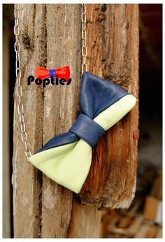 FREE SHIPPING UNIQUE Bow tie leather neacklace genuine by Popties, €13.50