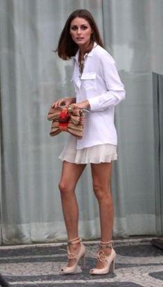 Olivia Palermo wearing Giambattista Valli Shoes, Lulu Frost Necklace, Topshop Pleat Chiffon Shorts and Masscob Shirt.