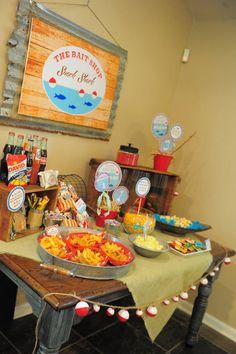 baby boy birthday party fishing theme | Gone Fishing Birthday Party via Kara's Party Ideas | Kara'sPartyIdeas ...