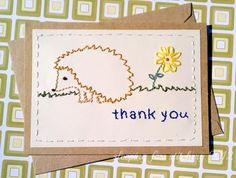 Sleeping Fox Stitchery: Hand Embroidered Card Hedgehog Thank You Yellow Flower Brown Green Cute Woodland Creature Forest Friend Animal. $6.00, via Etsy.