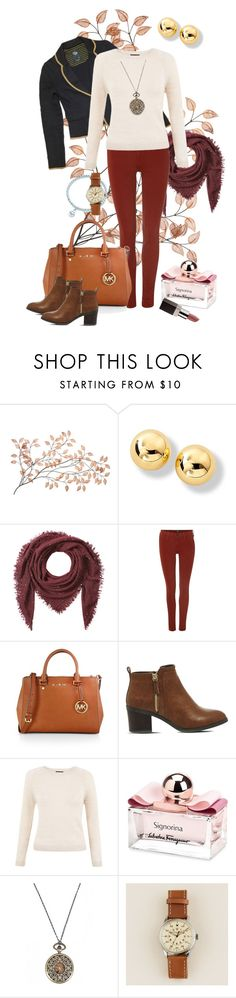 """Opera morning"" by marijime-paperdoll ❤ liked on Polyvore featuring Faliero Sarti, Lee, MICHAEL Michael Kors, Office, Salvatore Ferragamo, J.Crew, Laura Mercier, Fall, casual and outfit"