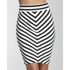 Mitered Stripe Midi Knit Skirt ❤ liked on Polyvore