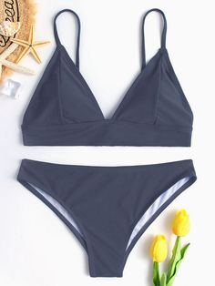 Grey Plain Spgahetti Bikini Set To inspire confidence and beauty through redefined and affordable fashion. Bathing Suits Canada, Bathing Suits For Teens, Summer Bathing Suits, Swimsuits For Teens, Cute Bathing Suits, Plus Size Swimsuits, Cute Swimsuits, Cute Bikinis, Women Swimsuits