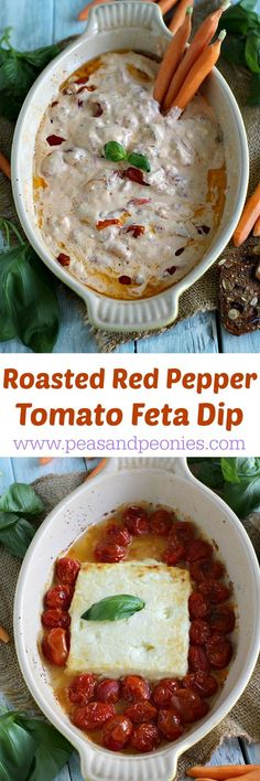 Roasted Red Pepper Tomato Feta Dip - Peas and Peonies #boldbrightsummer #ad @mezzetta