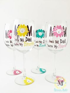 Hand Painted Mother's Day Wine Glass by Mimossa by MimossaStudio