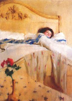 NUDE Girl Asleep Sweet Dreams COLOR Antique Print