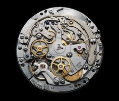 An El Primero movement from Note the column wheel at 12 o'clock. The intermediate wheel that meshes with the chronograph wheel to drive it is in red Popular Watches, Watches For Men, Men's Watches, Baselworld 2017, Oclock, Star Shape, Automatic Watch, Vintage Watches, History
