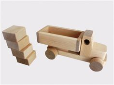 Wooden Toy Truck With Blocks. $16.00, via Etsy.