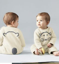 my little <3 @ Phildar / bear knitted rompers - baby