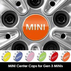MINI Factory Center Hub Caps in Various Colors to add a little color to your MINI. For the generation MINI Cooper and Cooper S models including Hardtop Hardtop Convertible Clubman Countryman Mini Cooper Clubman, Mini Countryman, Mini Cooper Models, Mini Cooper Accessories, Mini Copper, Girly Car, Mini One, Hub Caps, Funny Stuff