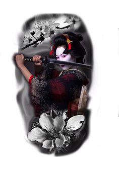 - #geisha Japanese Geisha Tattoo, Japanese Tattoo Designs, Japanese Sleeve Tattoos, Japanese Art, Geisha Tattoos, Geisha Tattoo Design, Tattoo Guerreiro, Samurai Artwork, Geisha Art
