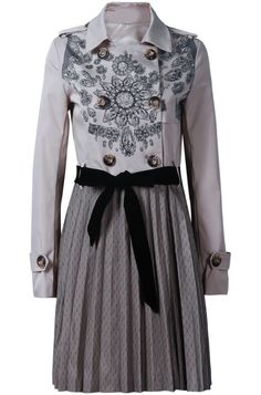 Floral Embroidery Contrast Pleated Dot Print Hem Coat