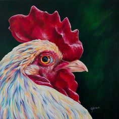 Rooster Acrylic Painting by Claudelle Girard Rooster Painting, Chicken Painting, Gcse Art, Small Art, Disney Wallpaper, Animal Drawings, Pet Portraits, Farm Animals, Art Boards