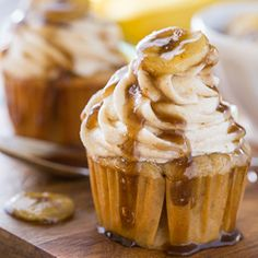 Bananas Foster Cupcakes - all the flavor of the classic New Orleans dessert in cupcake form.