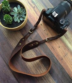 Handmade Leather Adjustable Camera Strap by HideAndHome on Etsy