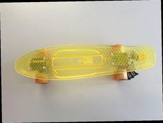 "52.00$  Buy here - http://ali8wp.worldwells.pw/go.php?t=32447465645 - ""6""""x22.5"""" Transparent Yellow Banana Skateboard Mini Cruiser Skateboard Plastic Longboard Skate Board with Plastic Wheels"" 52.00$"