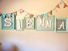 Framed Name Art and Fabric Bunting for Nursery - #ProjectNursery