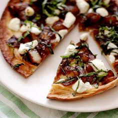 Flatbreads with Goat Cheese, Caramelized Onions & Basil