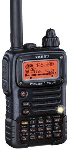 Yaesu VX-7R Triple Band 50/144/430MHZ Amateur Radio Transceiver (Black) by Yaesu. $414.89. Yaesu VX-7RB Black Transceiver Transmits the 50-54Mhz, 144-148Mhz, 430-450Mhz Amateur Ham radio bands at 5W, Plus the 222-225Mhz Band at 300mW. Selectable lower power settings. PL & DPL, AlphaNumeric Twin receive display, Waterproof & submersible. Optional available accessories include the CD-125A desk charger, VC-27, MH-57A4B, MH-73A4B & VC-24 Headsets & mics, FBA-23 & FNB-80Li Batt...