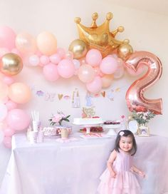 Simple Pink and Gold Princess Birthday Party Ideas – Momo Party Baby Girl Birthday Decorations, 2nd Birthday Party For Girl, Princess Theme Birthday, Pink And Gold Birthday Party, Princess Party Decorations, Girl Birthday Themes, Geek Birthday, Birthday Crowns, Princess Balloons