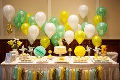 Summery Citrus Theme Wedding or Baby Shower! Love the balloons! Baby Shower Giraffe, Baby Shower Yellow, Baby Shower Balloons, Frog Baby Showers, Baby Shower Parties, Baby Shower Themes, Shower Ideas, Pinwheel Wedding, Tassle Garland