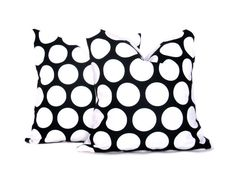 Black Polka Dot Pillows Black  and White Dots Set by EastAndNest, $32.00