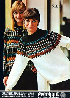 Edelweis 958 Fair Isle Knitting, Hand Knitting, Knitting Patterns, Norwegian Knitting, Old Magazines, Vintage Knitting, Fall 2018, Color Combinations, Knitwear
