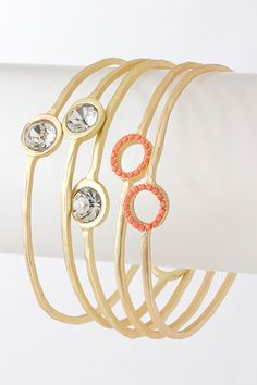 Coral Dia Hammered Bracelet Set on Emma Stine Limited I Love Jewelry, Jewelry Sets, Jewelry Accessories, Fine Jewelry, Jewelry Design, Stackable Bracelets, Jewelry Bracelets, Bangles, Necklaces